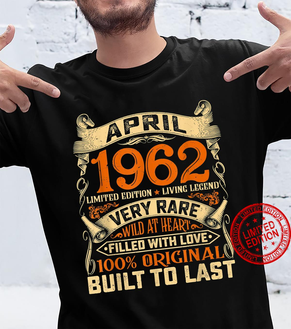 59 Years Old Decorations April 1962 59th Birthday Shirt