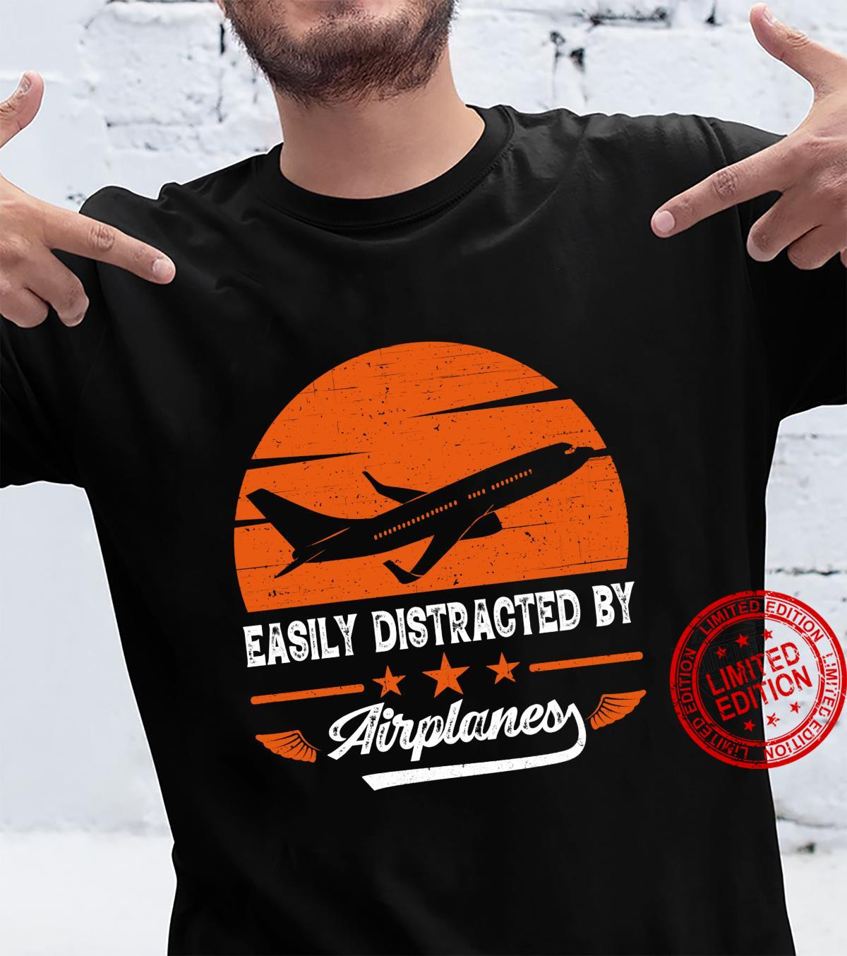 Easily Distracted by Airplanes Shirt Vintage Pilot Flying Shirt