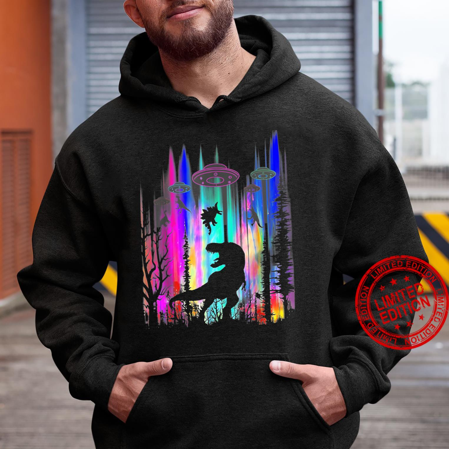 Funny Alien UFO TRex Abduction Colorful Forest Shirt hoodie