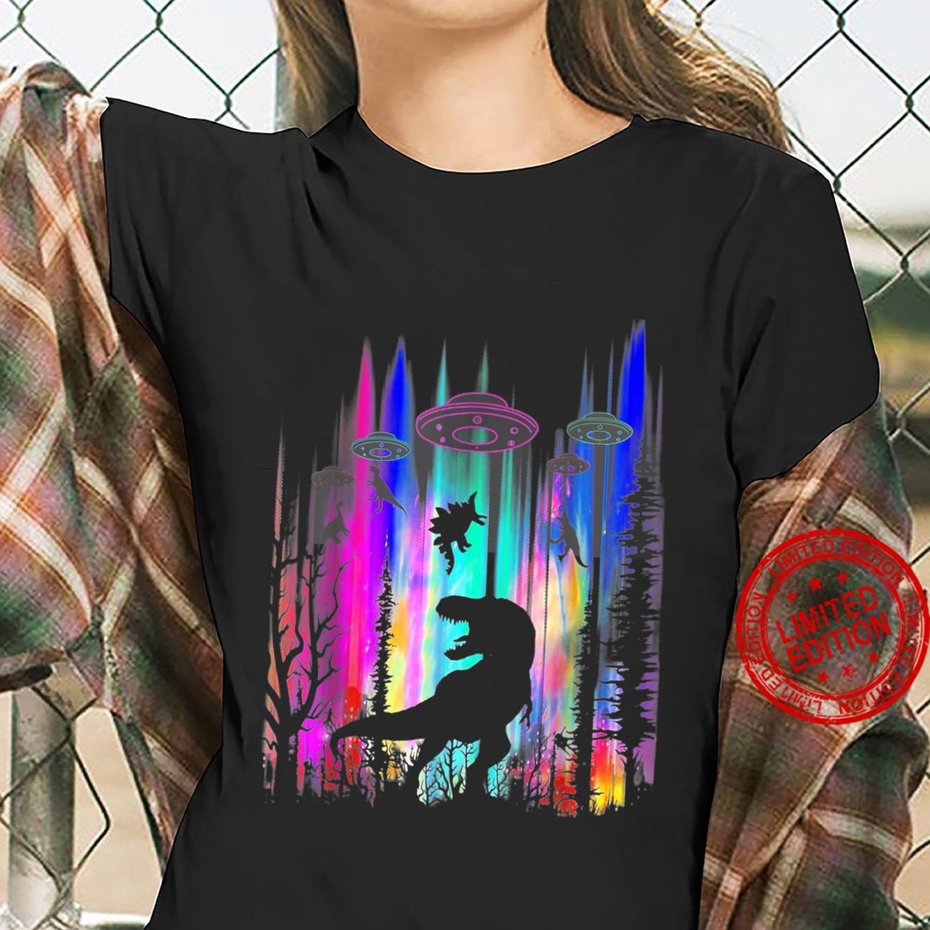 Funny Alien UFO TRex Abduction Colorful Forest Shirt ladies tee