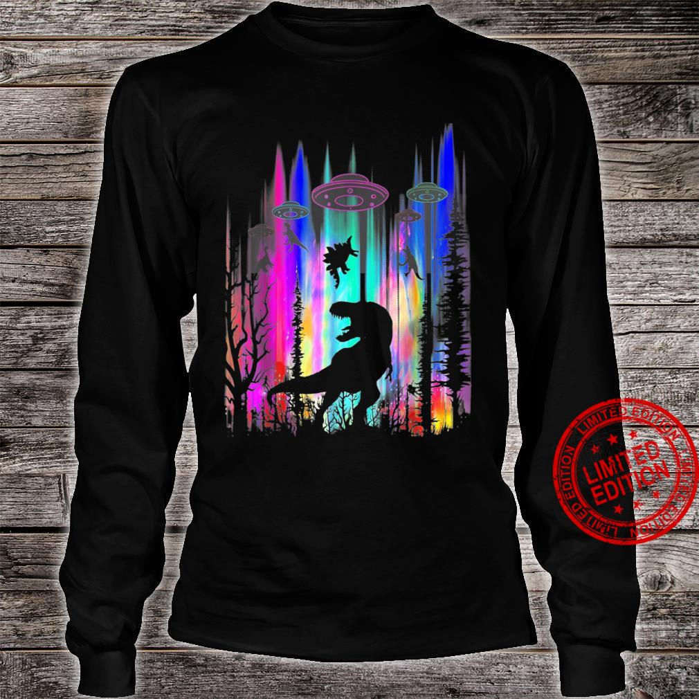 Funny Alien UFO TRex Abduction Colorful Forest Shirt long sleeved