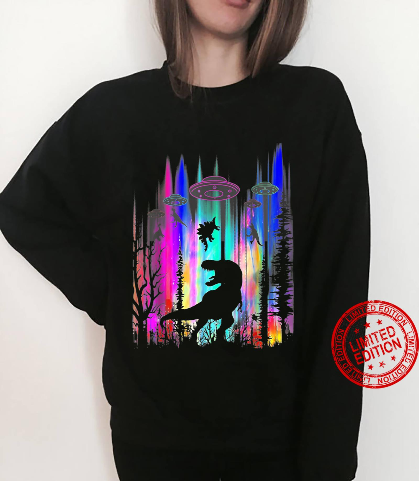 Funny Alien UFO TRex Abduction Colorful Forest Shirt sweater
