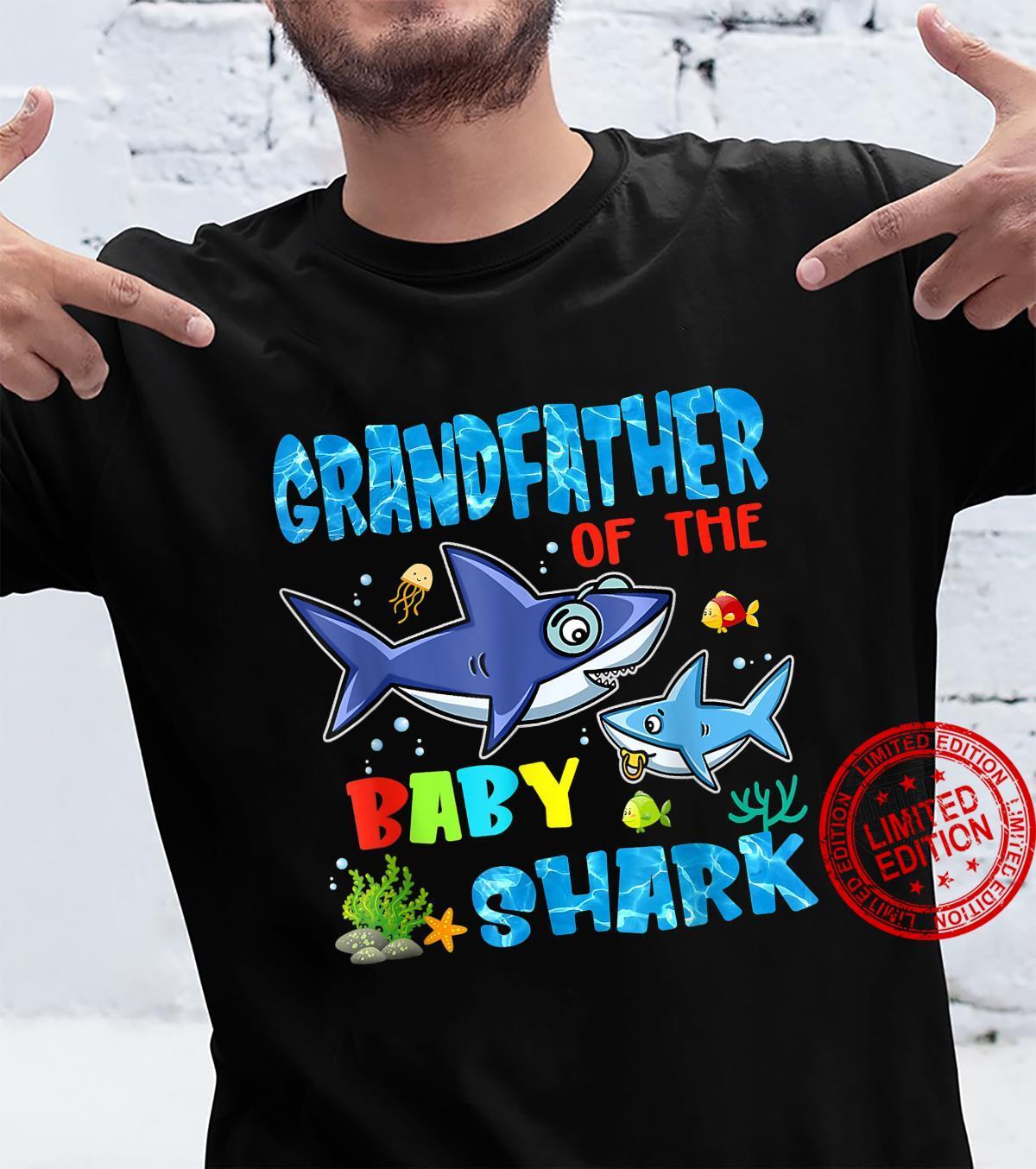 Grandfather Of The Baby Shark Birthday Grandfather Shark Shirt