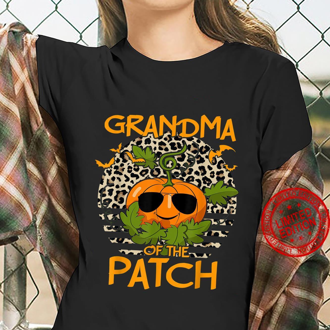 Halloween Pumpkin Grandma of the Patch Leopard sunset Shirt ladies tee
