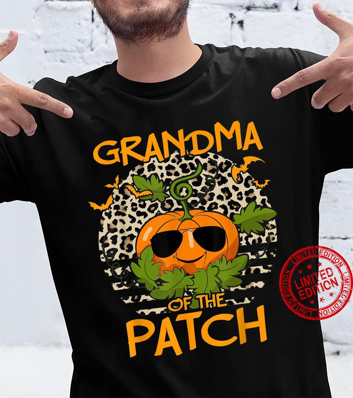 Halloween Pumpkin Grandma of the Patch Leopard sunset Shirt