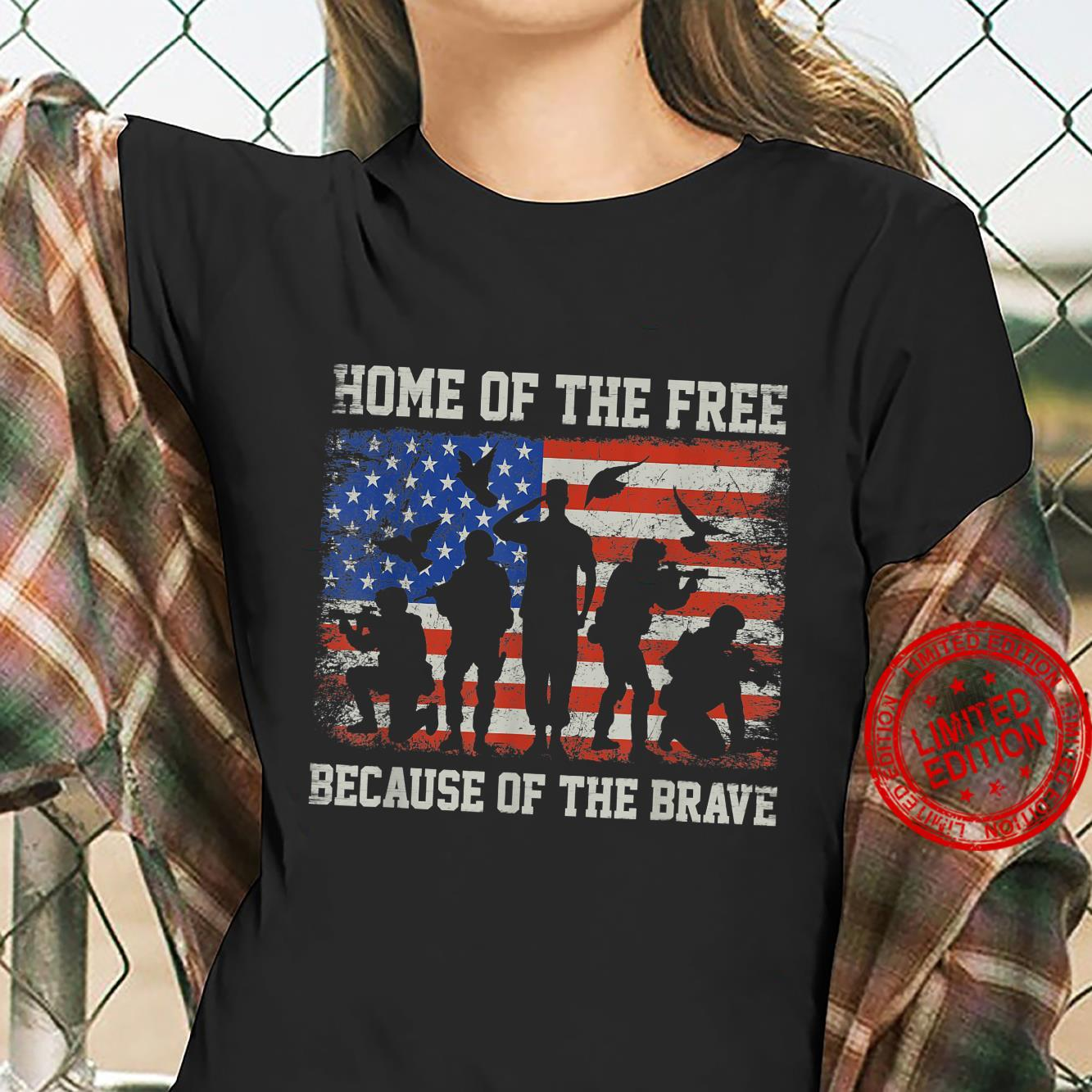 Home Of The Free Because Of The Bravee American Veterans Shirt ladies tee