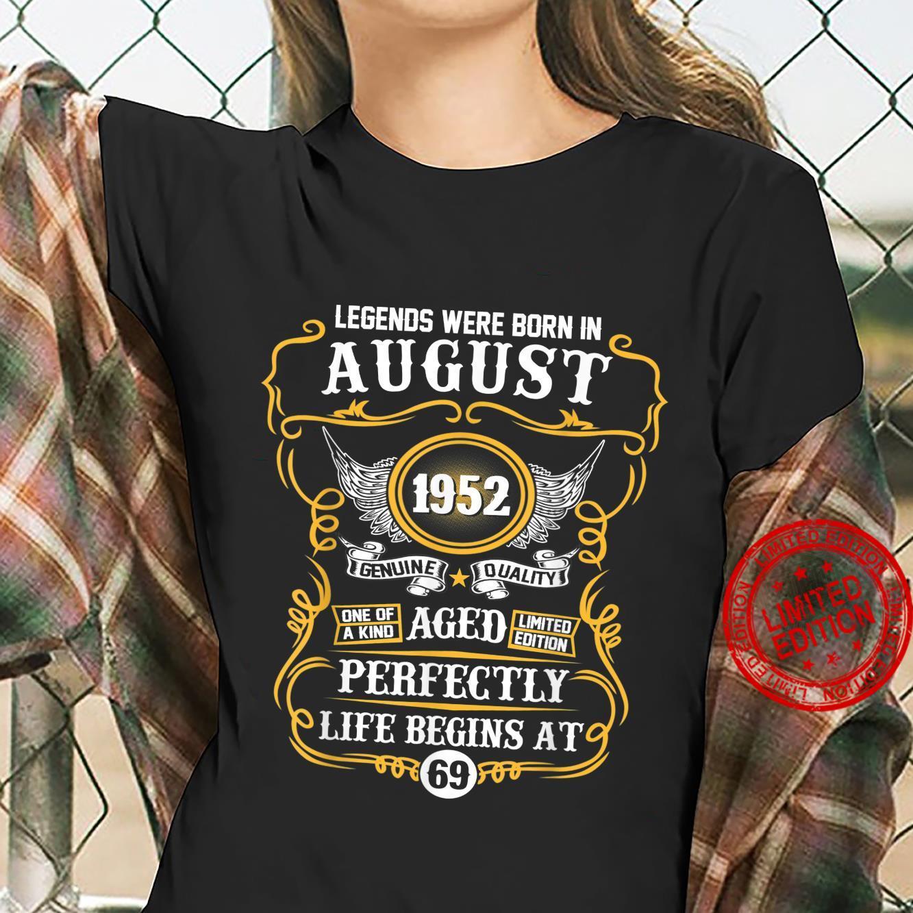 Legends Were Born In August 1952 69th Birthday Shirt ladies tee