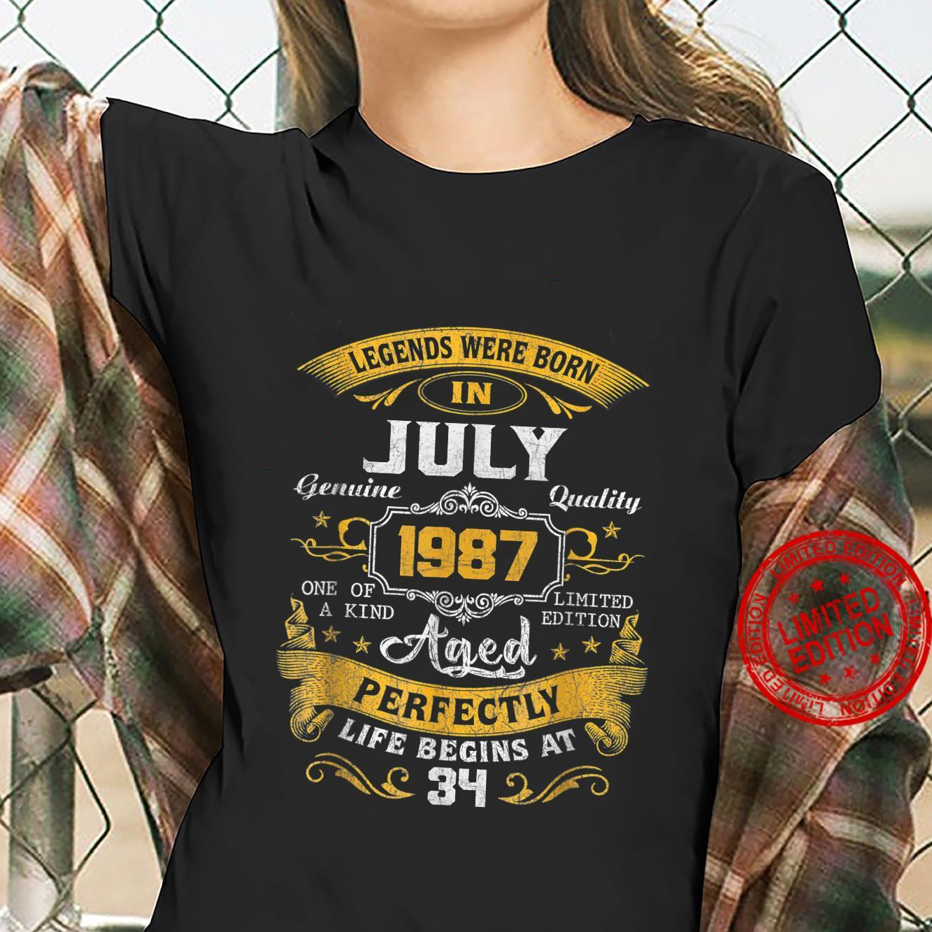 Legends Were Born In July 1987 34th Birthday Shirt ladies tee