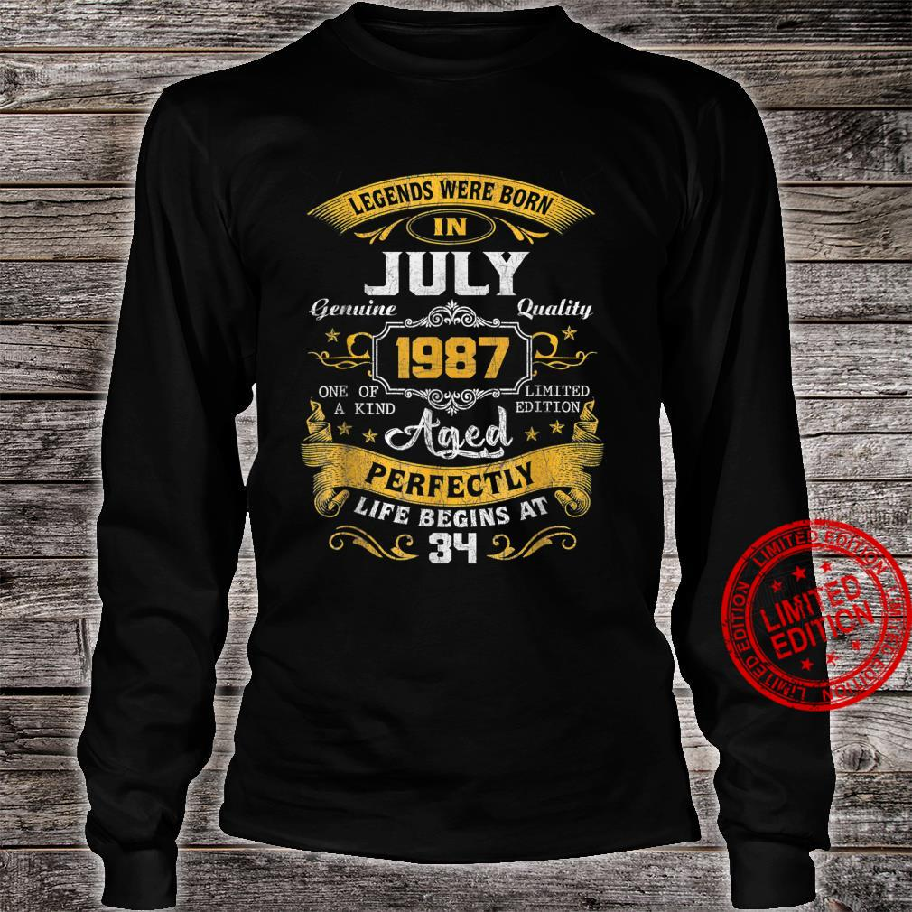 Legends Were Born In July 1987 34th Birthday Shirt long sleeved