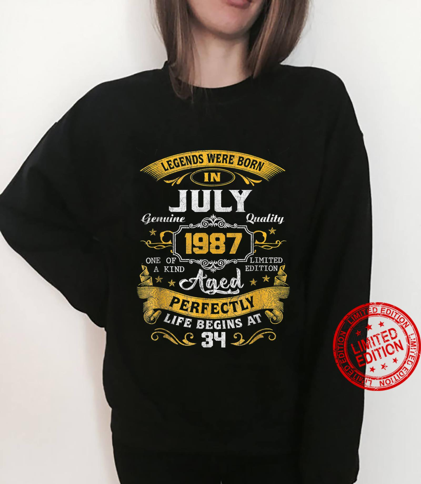 Legends Were Born In July 1987 34th Birthday Shirt sweater