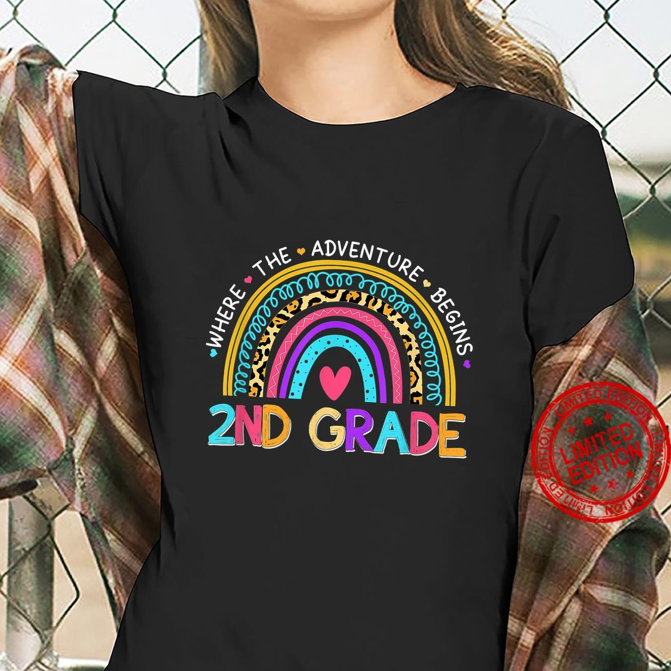 Leopard Rainbow 2nd Grade Where The Adventure Begins Shirt ladies tee