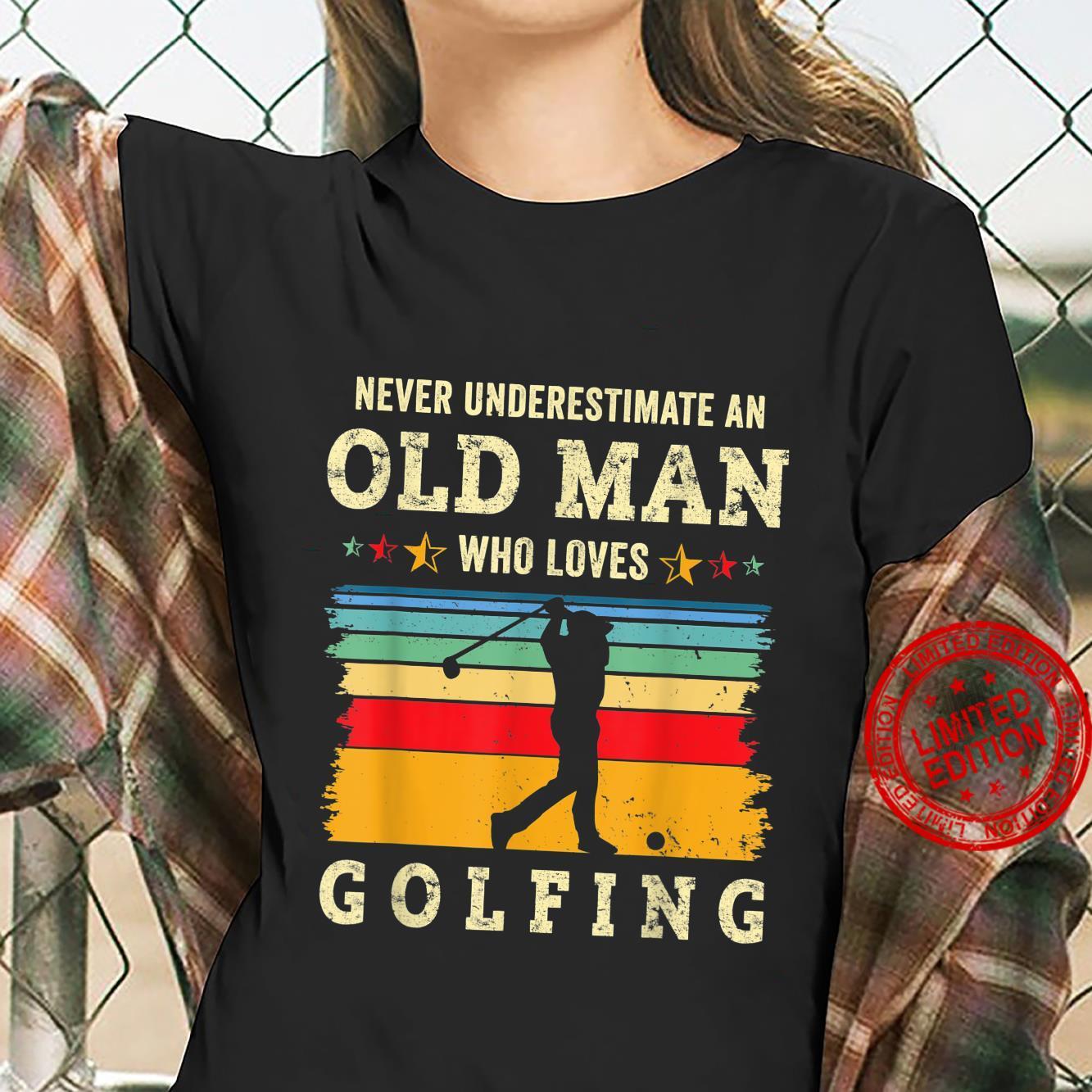 Retro 70s Old Man Golfing Joke Golf Dad Grandpa Golfer Gag Shirt ladies tee