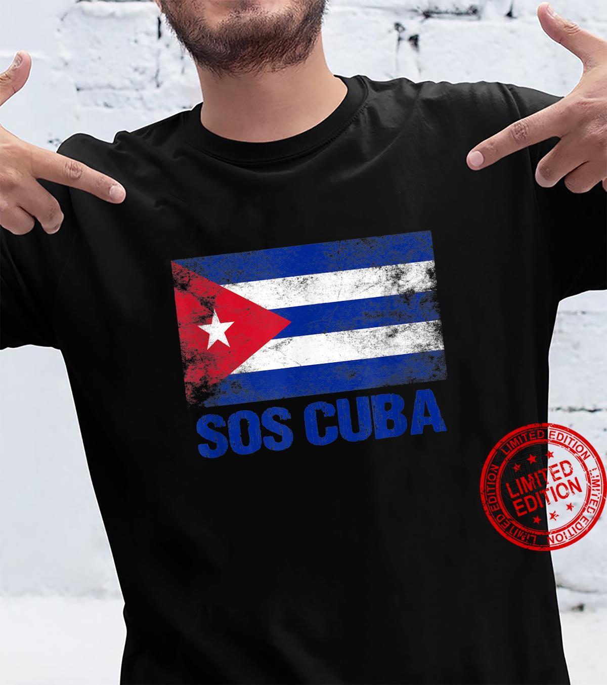 SOS Cuba Cuban Protest Flag and Cuba Libre Libertad Bandera Shirt