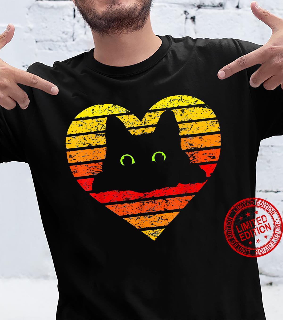 Vintage Black Cat, Retro Style Cats heart Shirt
