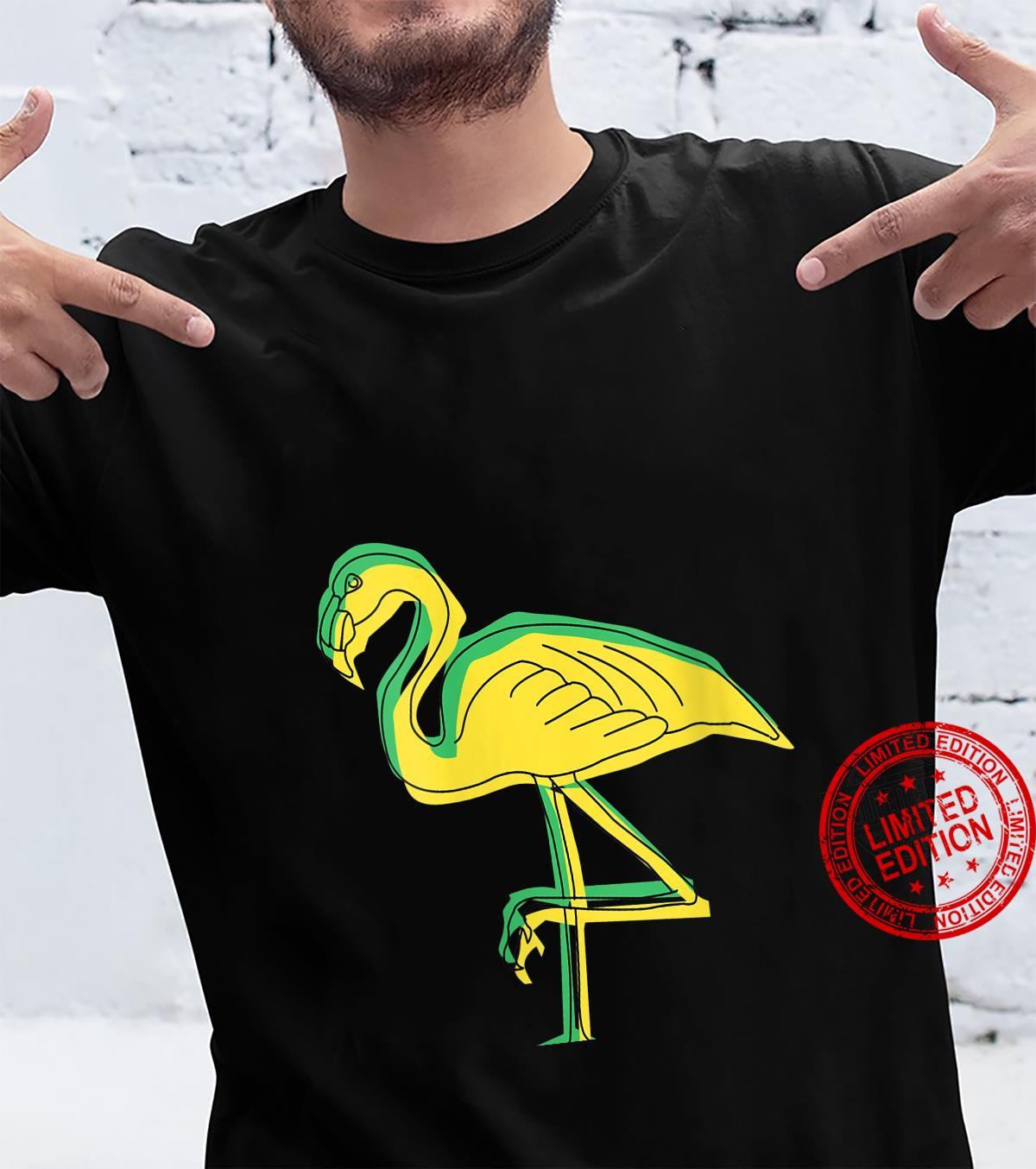 Womens Flamingo Yellow Green Art Shirt