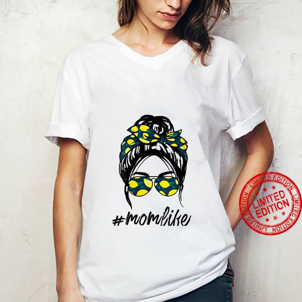 Womens Mom Life yellow lemon Sunglasses & Bandana Shirt ladies tee