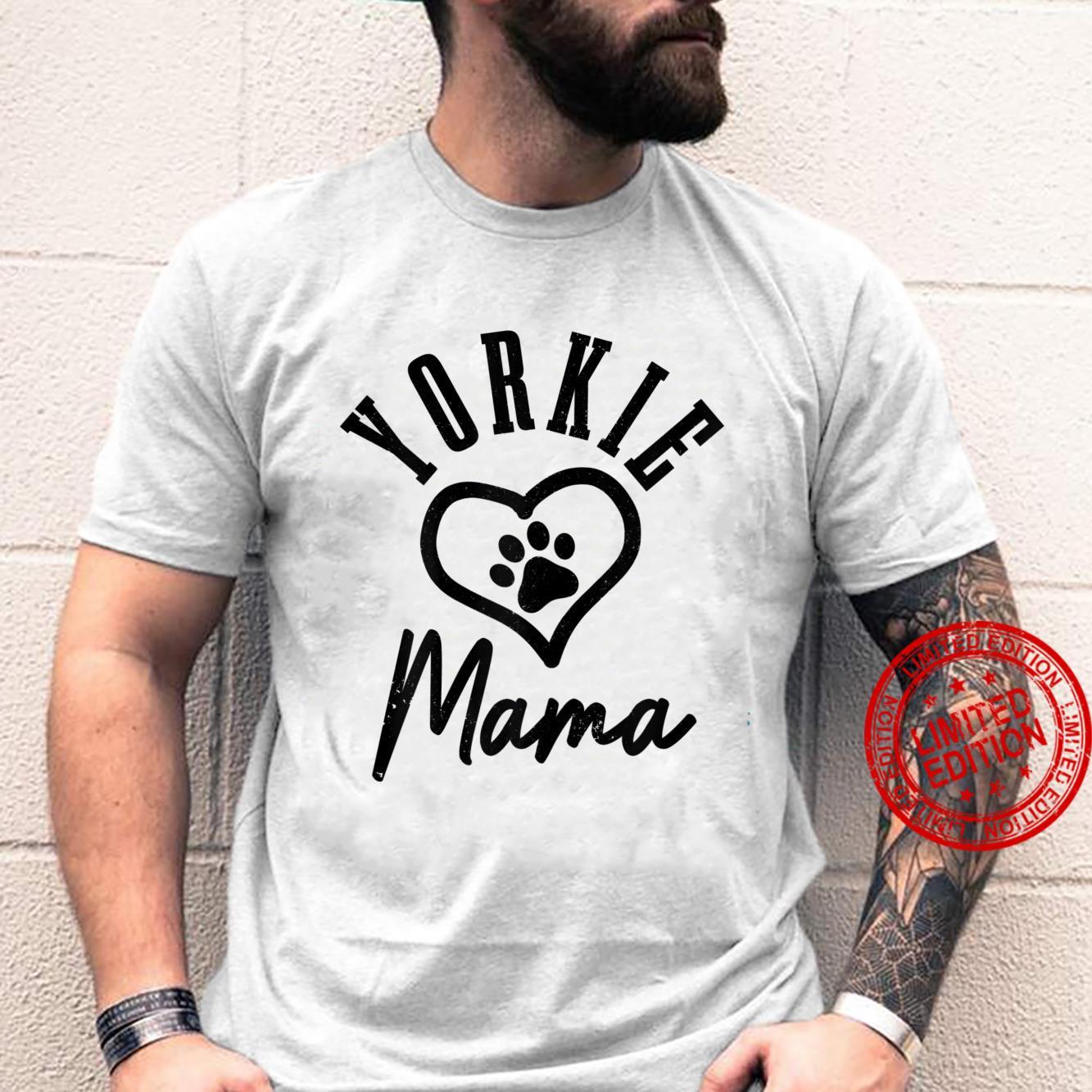 Womens Yorkie Mama Heart Dog Paw Yorkshire Terrier Mom Shirt