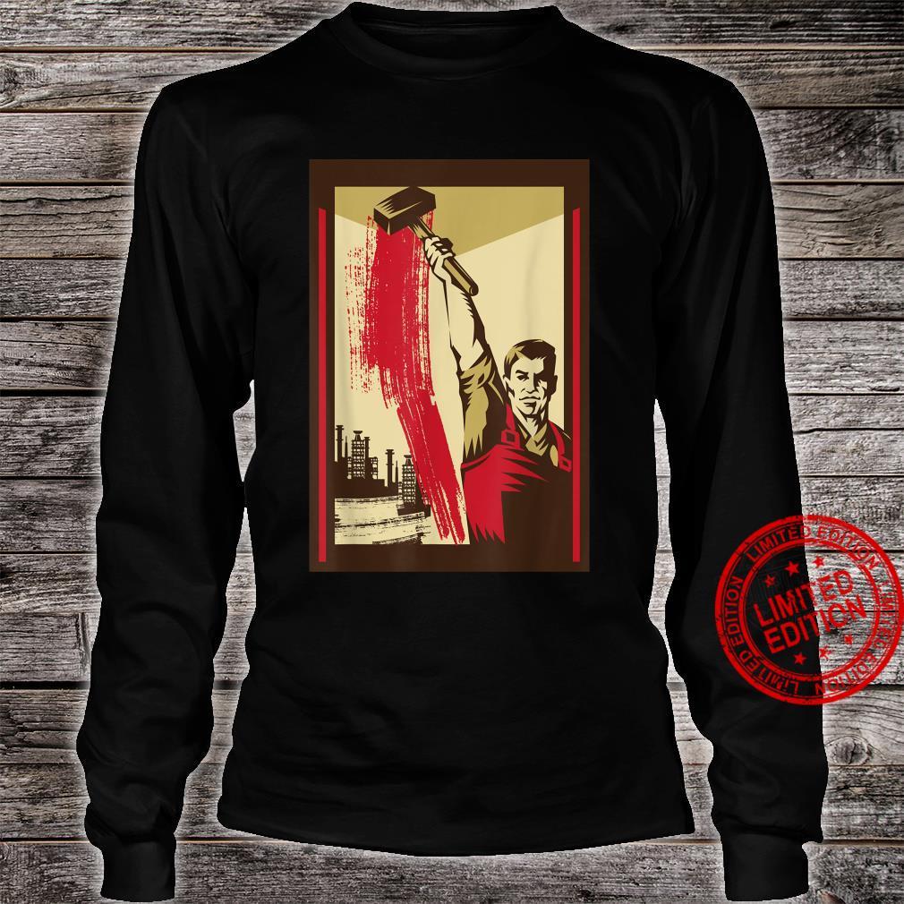 Worker with Hammer SOVI8 Vintage Propaganda. Shirt long sleeved