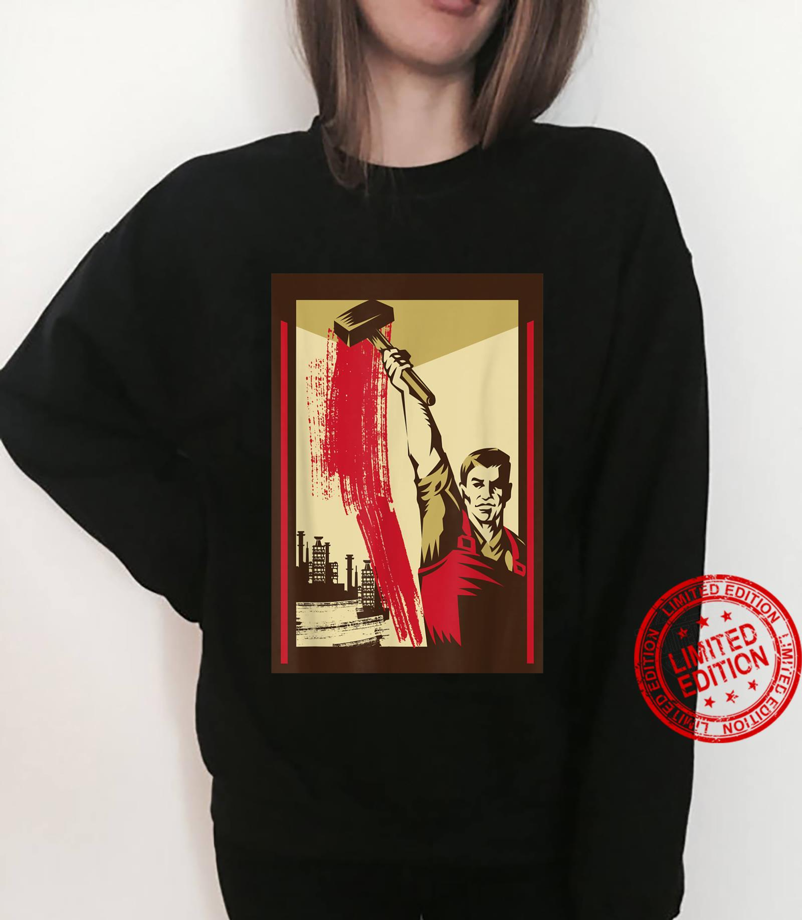 Worker with Hammer SOVI8 Vintage Propaganda. Shirt sweater