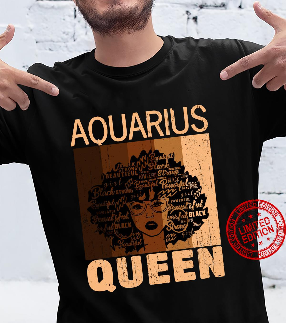 Aquarius Queen Afro Birthday Melanin Black African American Shirt