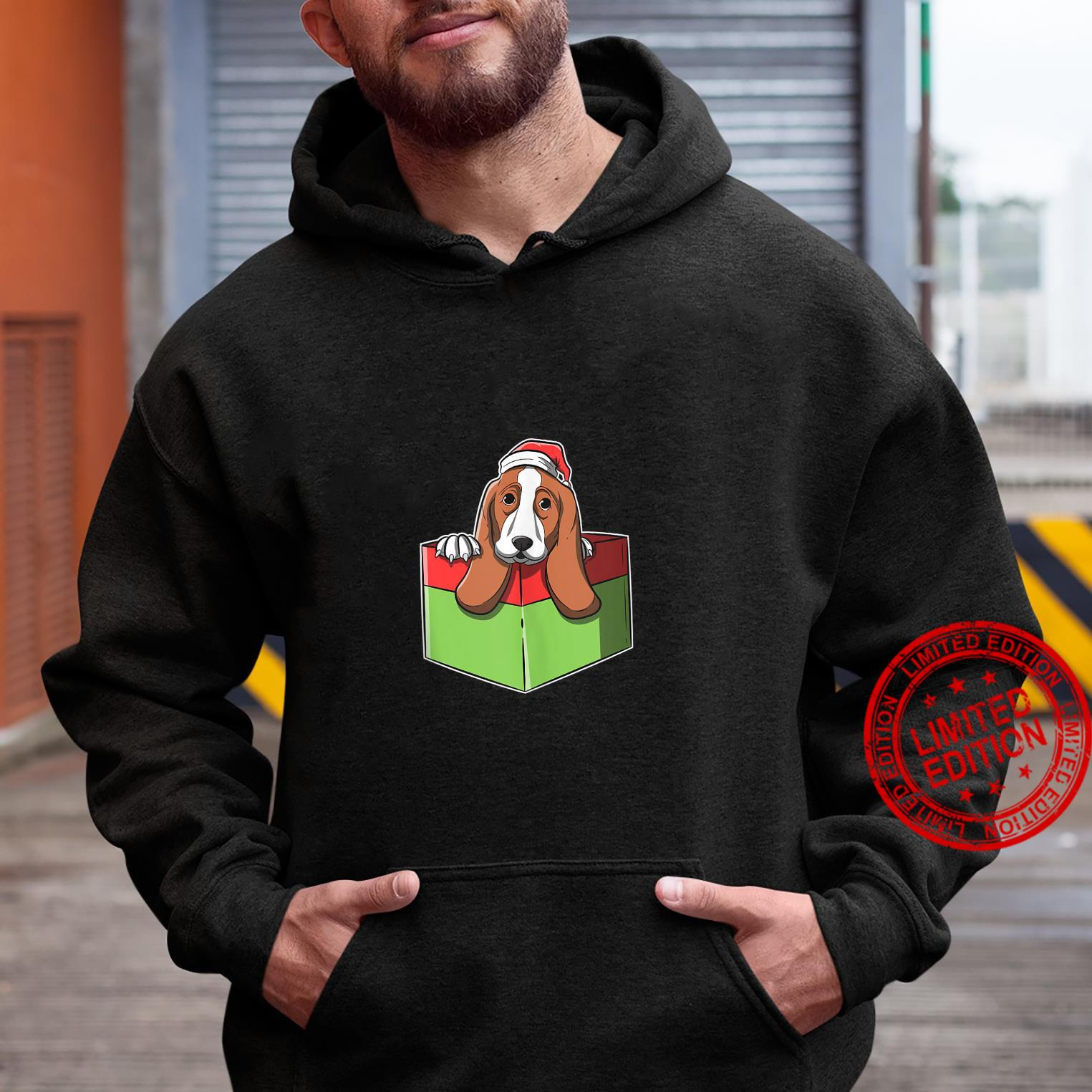 Christmas Basset Hound Image In Wrapped Present Box Shirt hoodie