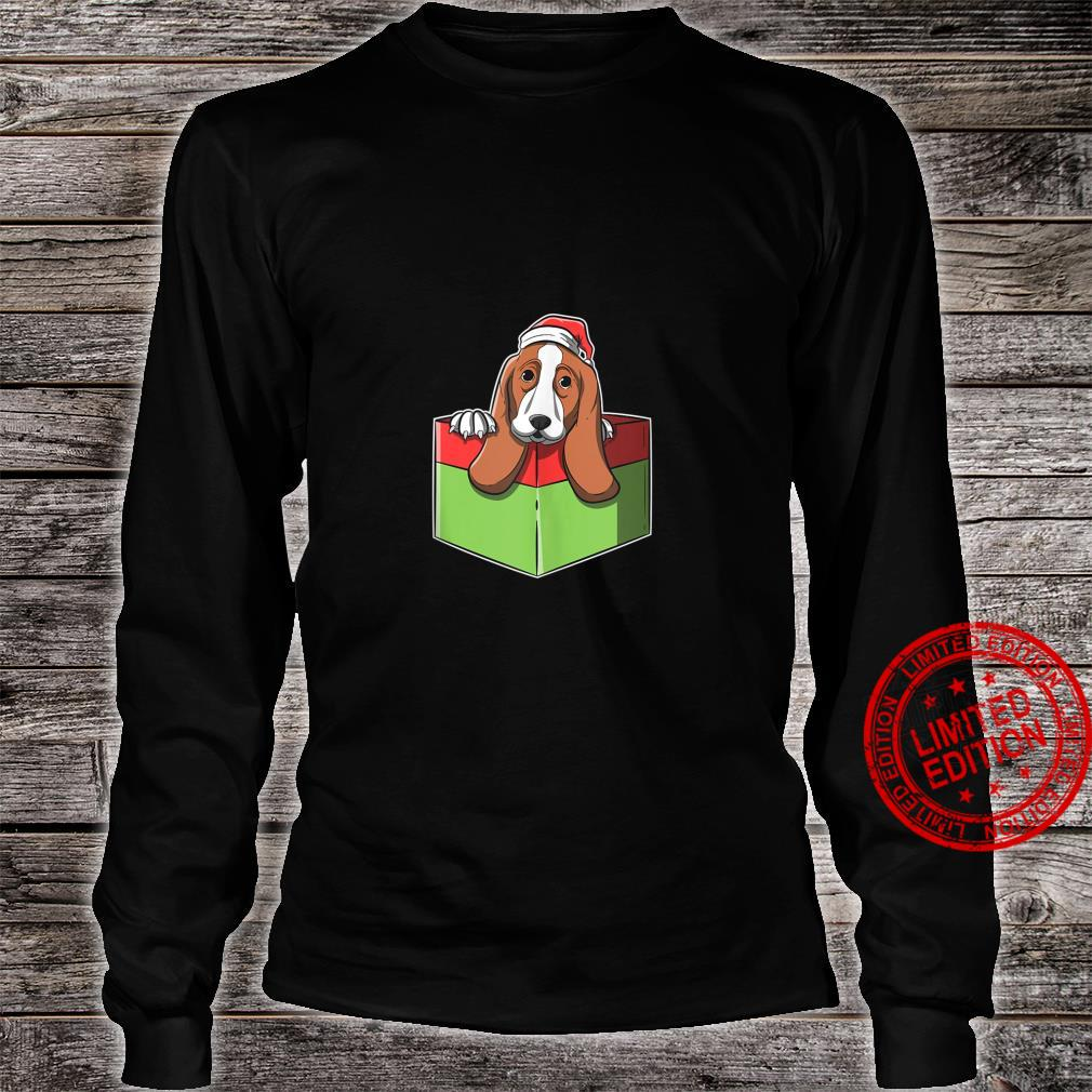Christmas Basset Hound Image In Wrapped Present Box Shirt long sleeved