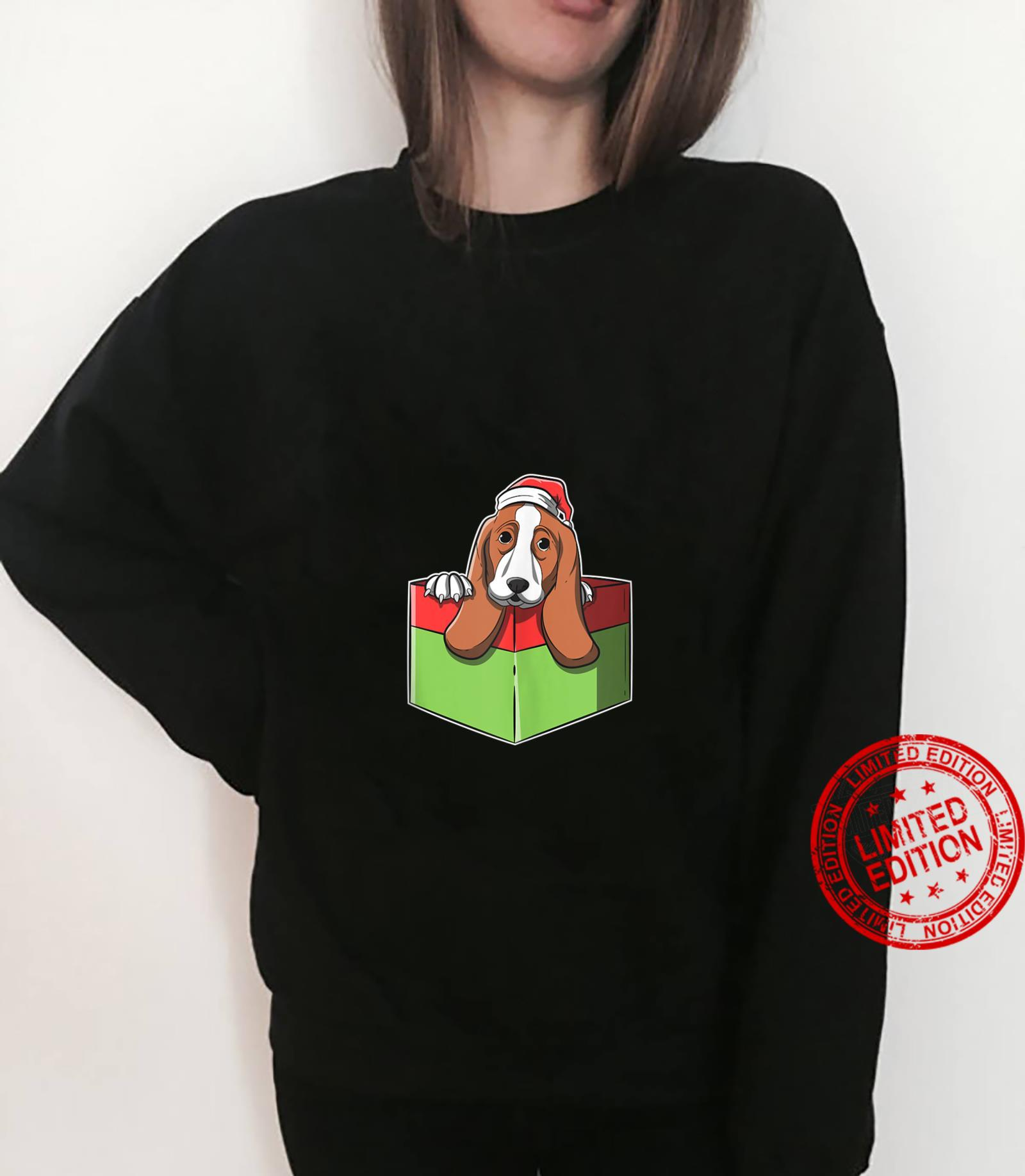 Christmas Basset Hound Image In Wrapped Present Box Shirt sweater