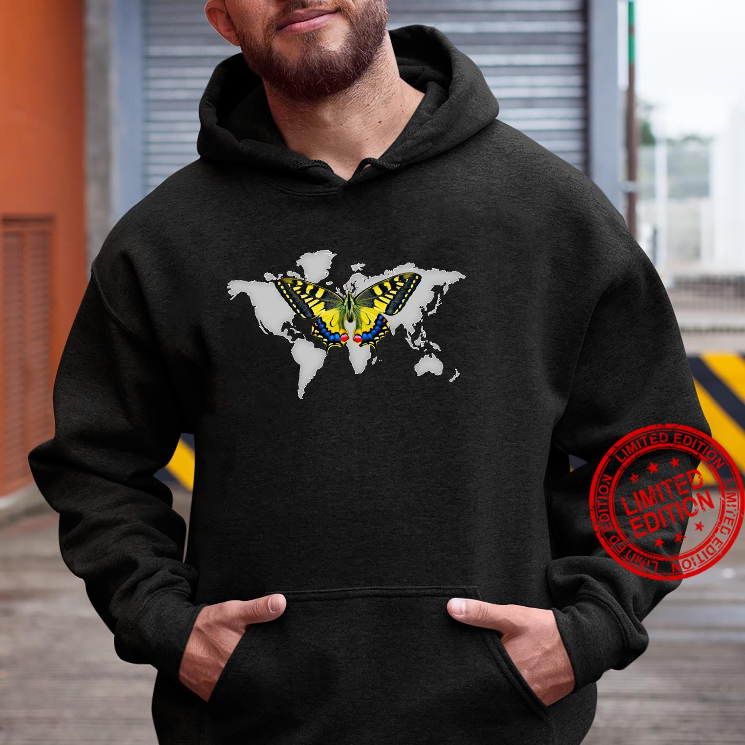Colorful Yellow butterfly In Flight Above Grey World Map Shirt hoodie