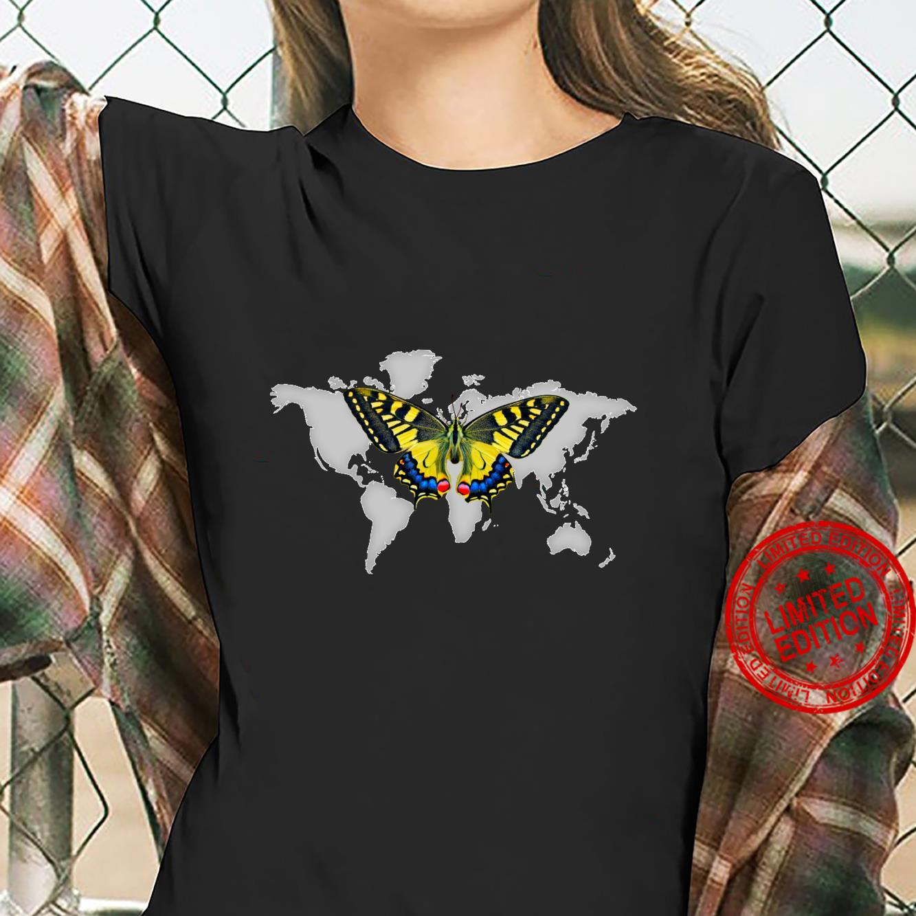 Colorful Yellow butterfly In Flight Above Grey World Map Shirt ladies tee