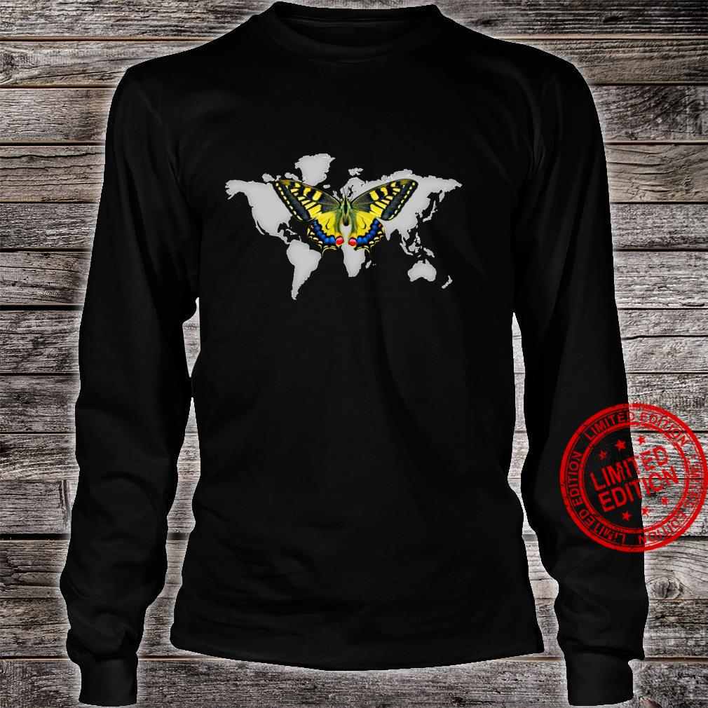 Colorful Yellow butterfly In Flight Above Grey World Map Shirt long sleeved