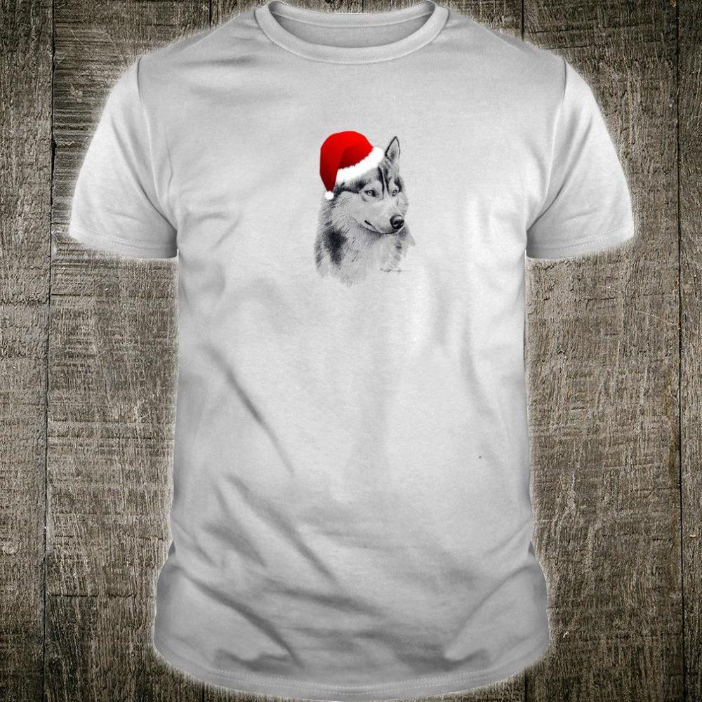 Cute Siberian Husky Fan Christmas Santa Hat Holidays Dog Shirt