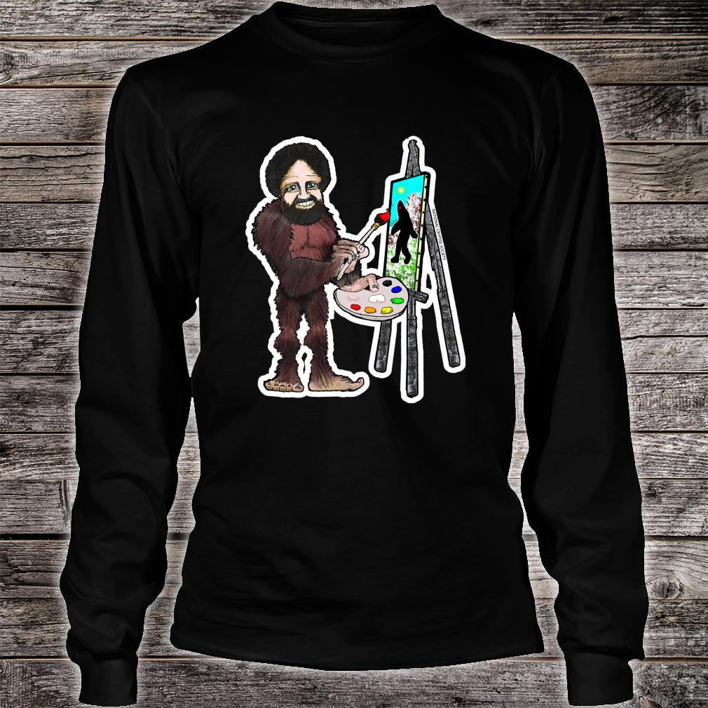 Happy Little Bigfoot; Painting Joy of Sasquatch Artist Paint Shirt long sleeved