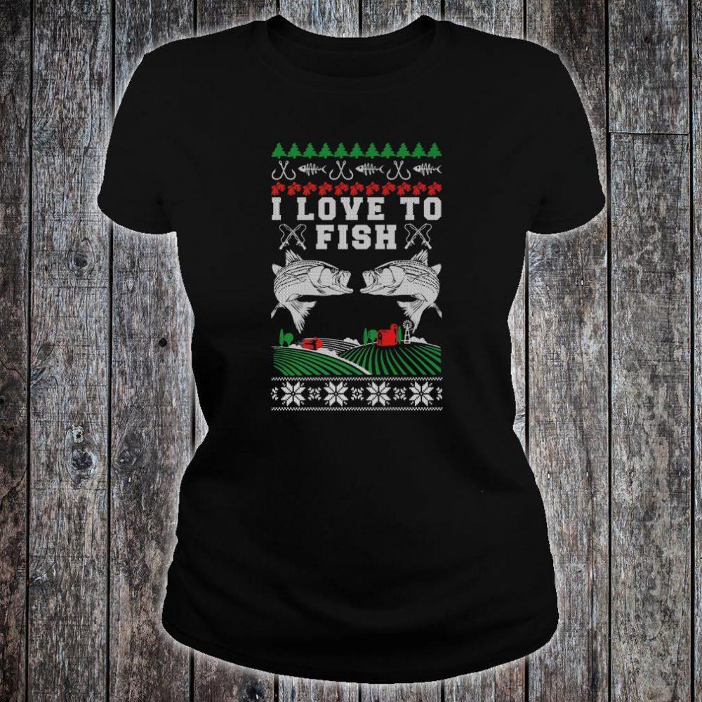 I Love to Fish Fishing Ugly Christmas Shirt ladies tee