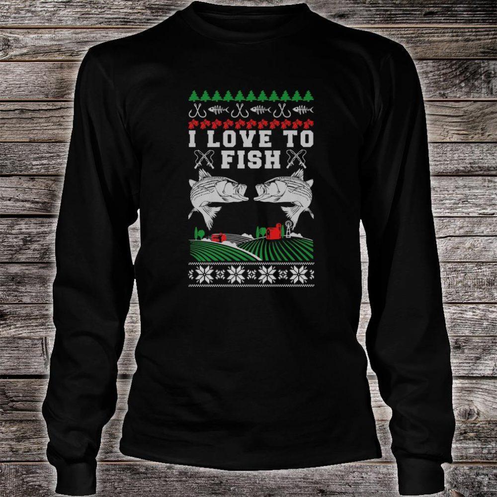 I Love to Fish Fishing Ugly Christmas Shirt long sleeved