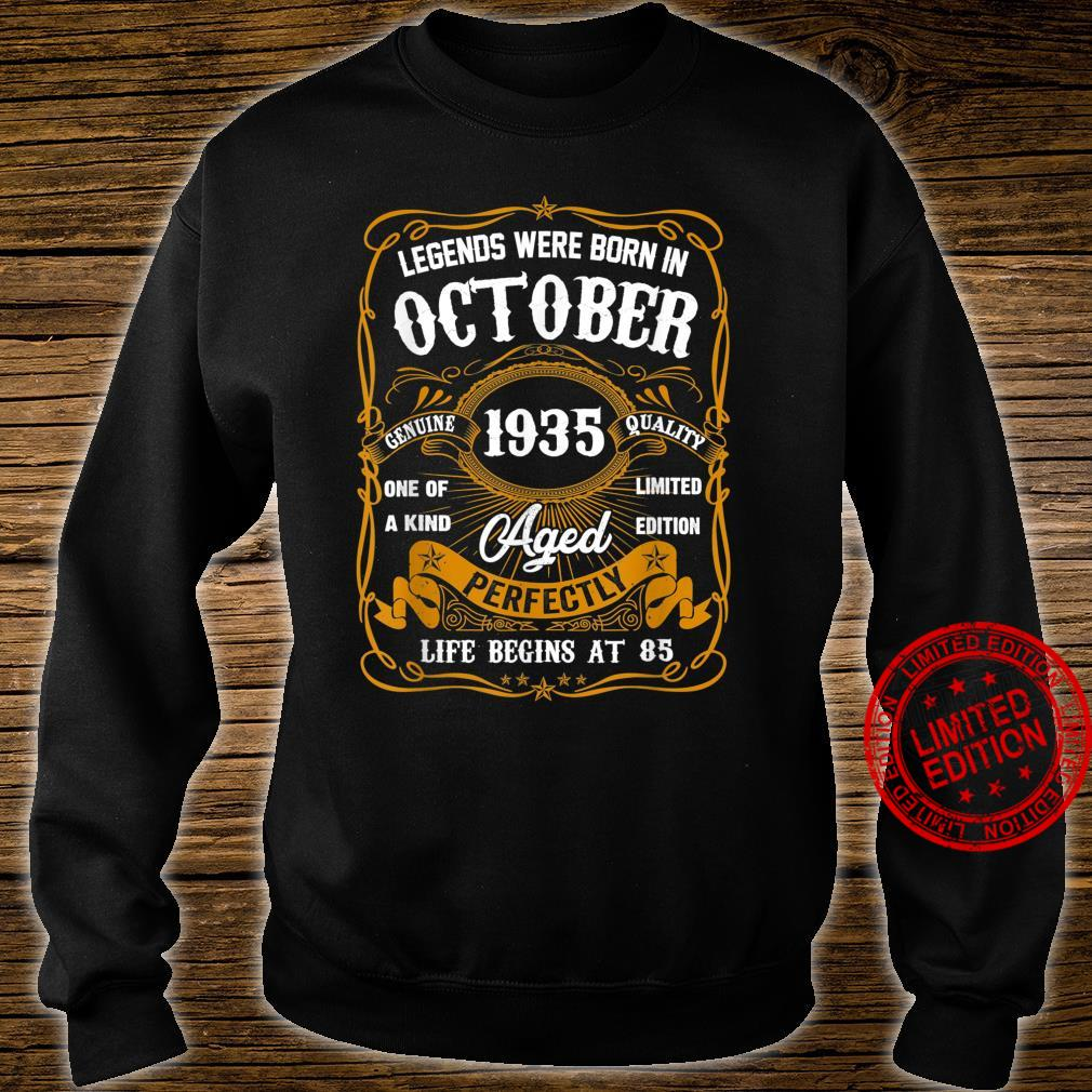 Legends Were Born In October 1935 85th Birthday Shirt sweater