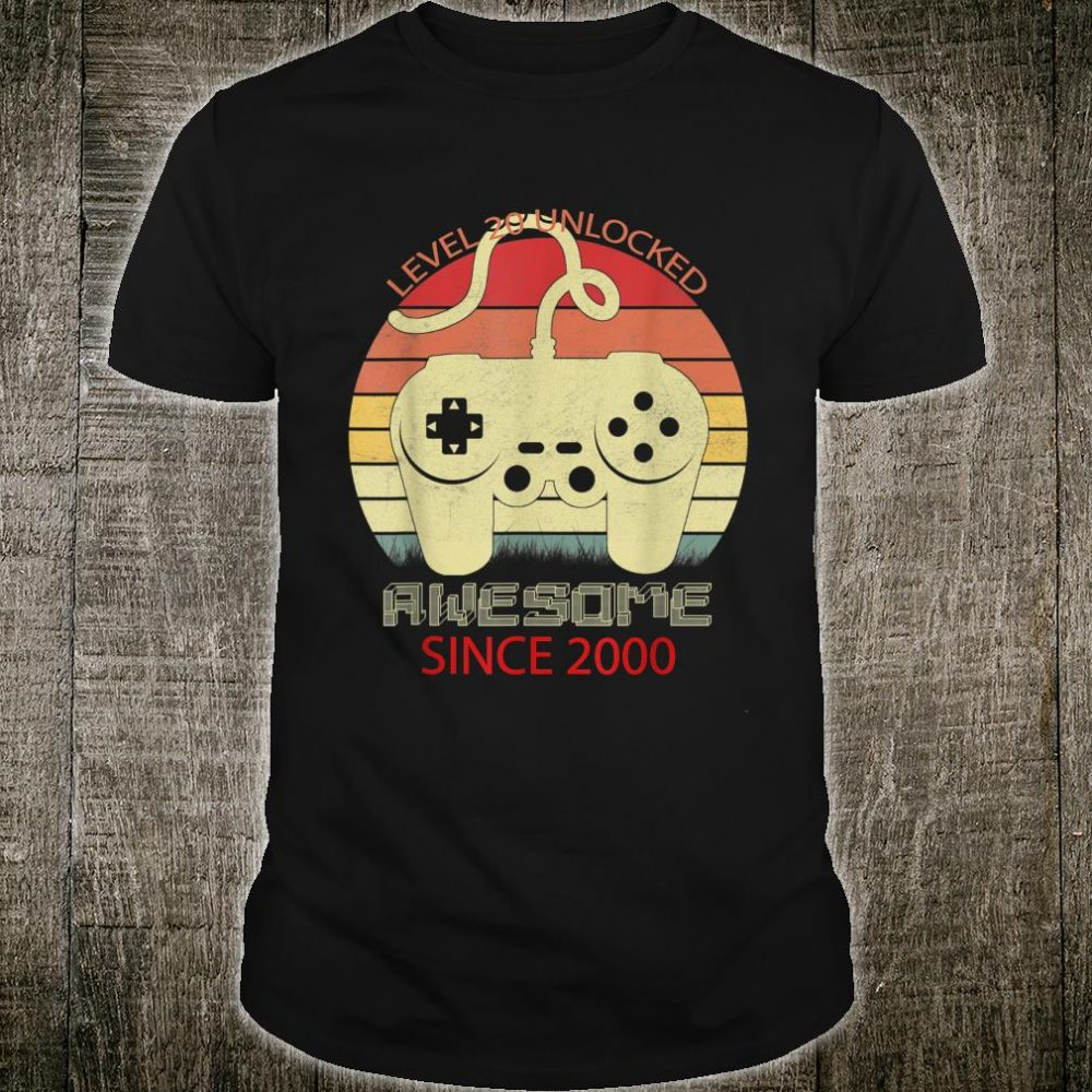 Level 20 Unlocked Awesome Since 2000 20th Birthday Gamer Shirt