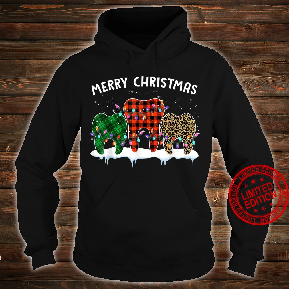 Merry Christmas Dental Assistant Tooth Leopard Xmas Shirt hoodie