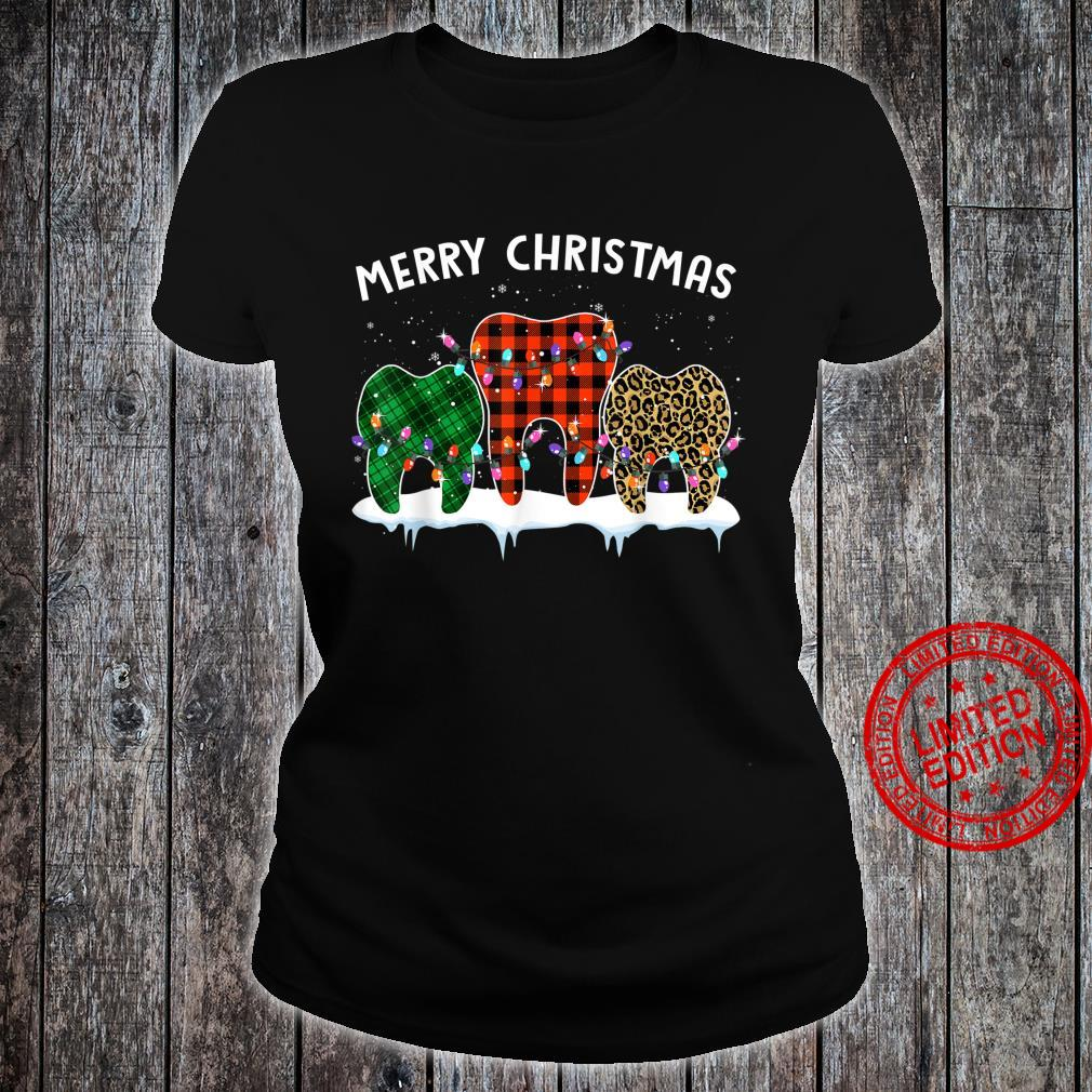 Merry Christmas Dental Assistant Tooth Leopard Xmas Shirt ladies tee