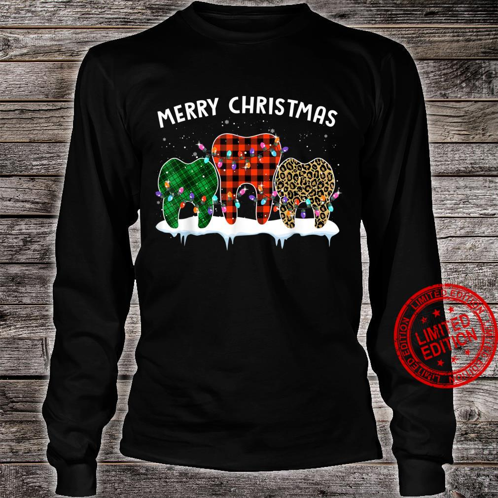 Merry Christmas Dental Assistant Tooth Leopard Xmas Shirt long sleeved