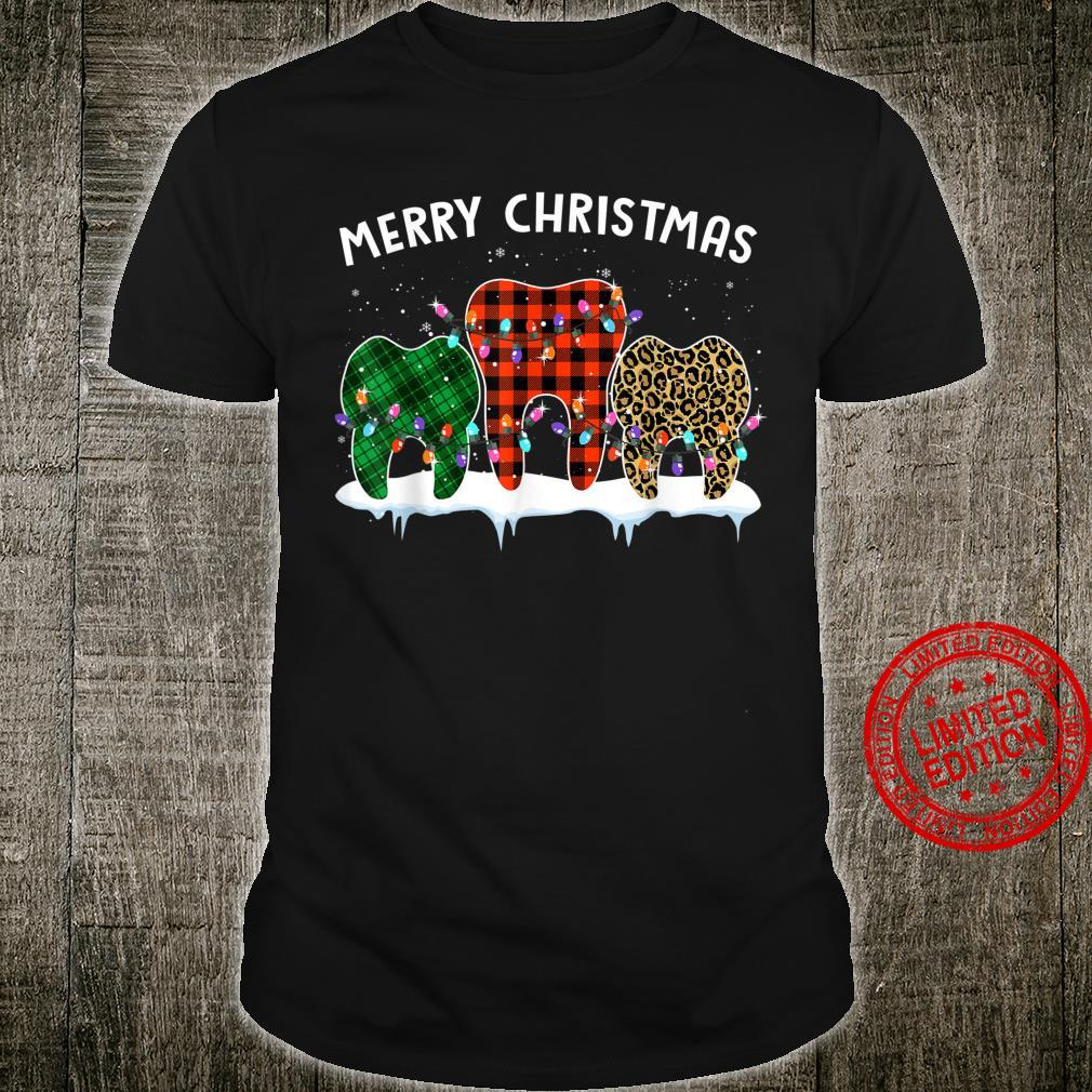 Merry Christmas Dental Assistant Tooth Leopard Xmas Shirt