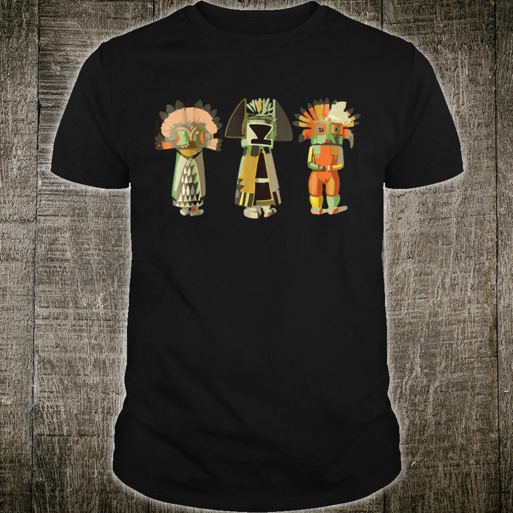 Native American KACHINA DOLLS abstract 3 Fan Fun Shirt