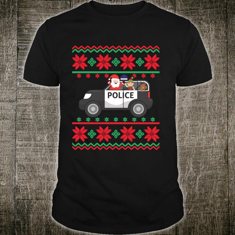 Police Car Ugly Christmas Santa Elf Deer Law Deputy Trooper Shirt