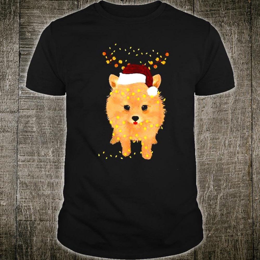 Pomeranian Reindeer Antlers Light Xmas Noel Shirt