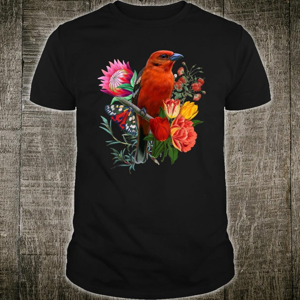 Red Flycatcher Bird With Flowers And Butterfly Cute Shirt