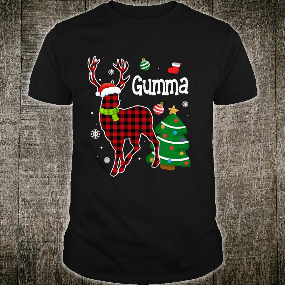 Red Plaid Gumma Deer Buffalo Matching Family Pajama Shirt