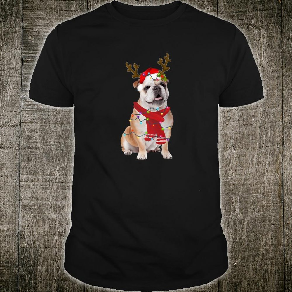 Santa Bulldog Dog Gorgeous Reindeer Light Christmas Shirt