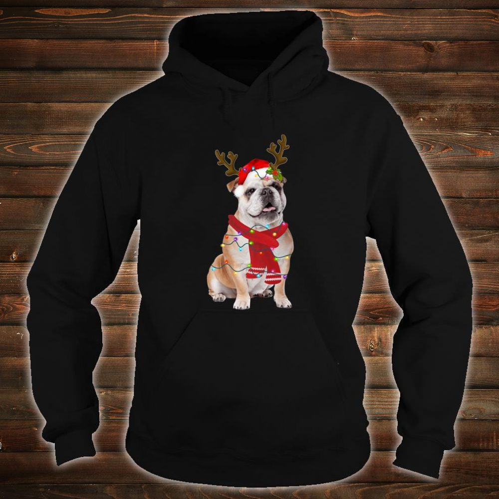 Santa Bulldog Dog Gorgeous Reindeer Light Christmas Shirt hoodie