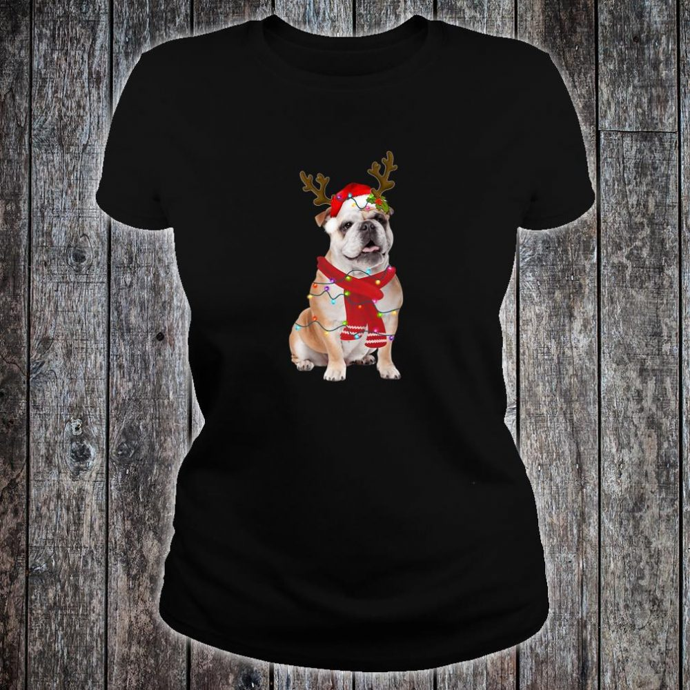 Santa Bulldog Dog Gorgeous Reindeer Light Christmas Shirt ladies tee