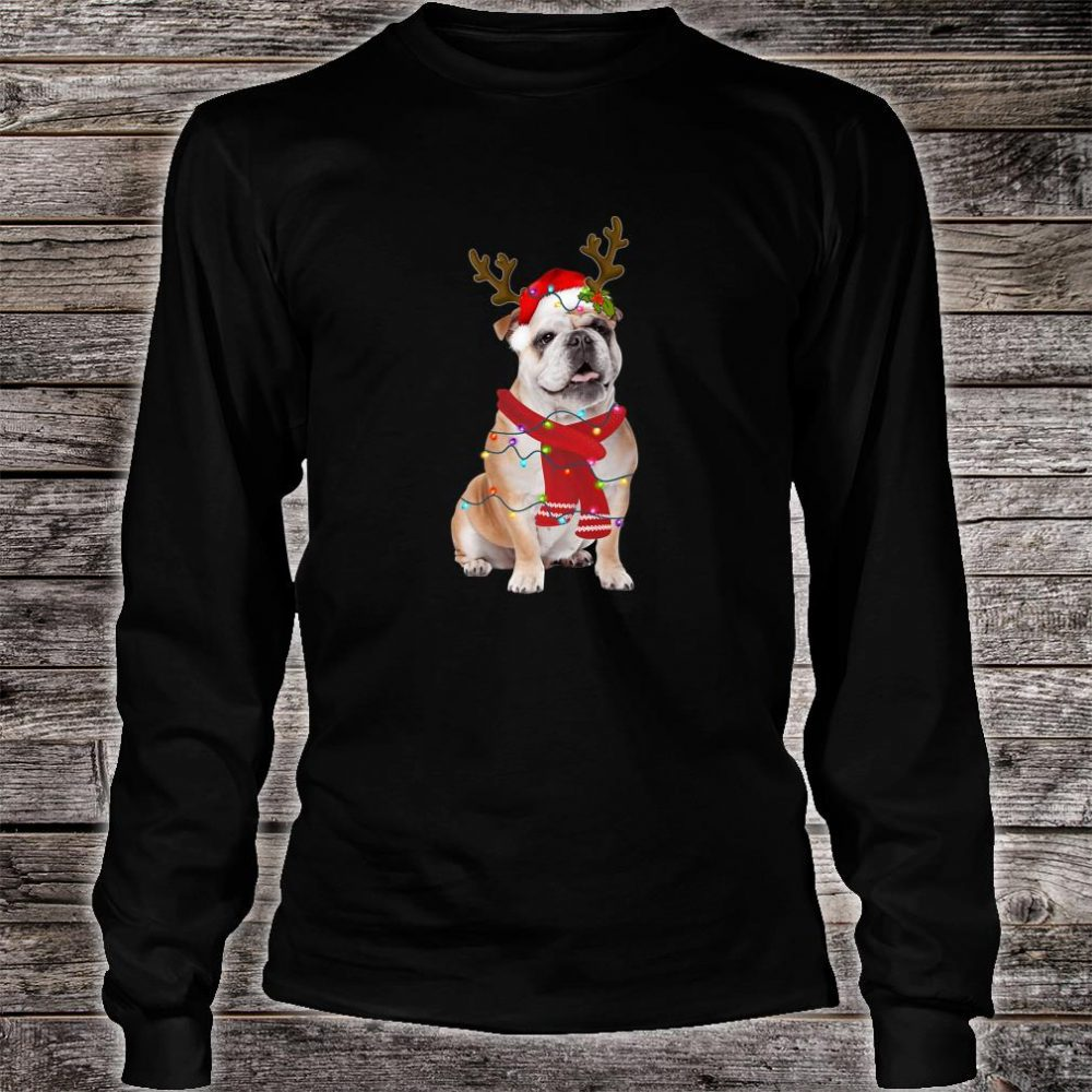 Santa Bulldog Dog Gorgeous Reindeer Light Christmas Shirt long sleeved