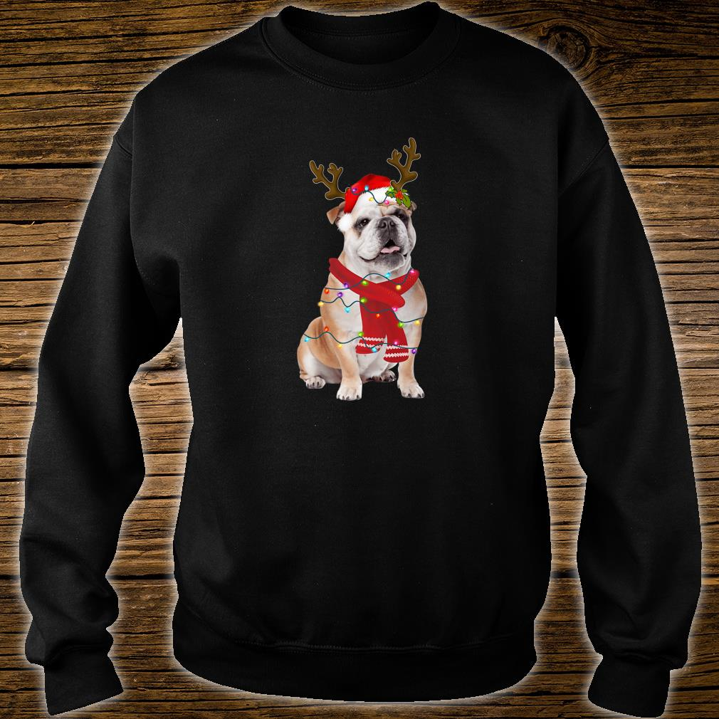 Santa Bulldog Dog Gorgeous Reindeer Light Christmas Shirt sweater